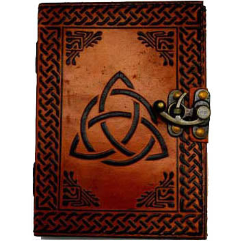 Triquetra with Celtic Knotwork 2-Color Embossed Leather Unlined Journal with Latch (7