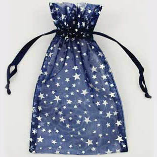 Blue organza pouch with Silver Stars 4