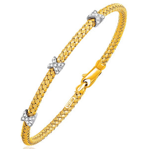 Basket Weave Bangle with Cross Diamond Accents in 14K Gold (4.0mm) - Fine Jewelry from Hamunaptra NY :: Exclusively at Mental XS Online