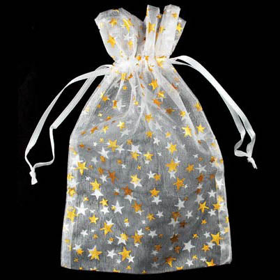 White organza pouch with Gold Stars 4
