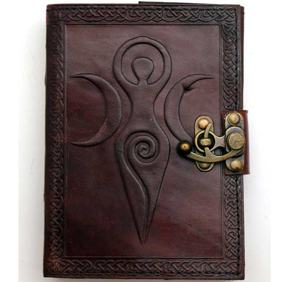 Maiden, Mother & Moon with Celtic Knotwork Embossed Leather Unlined Journal with Latch (7