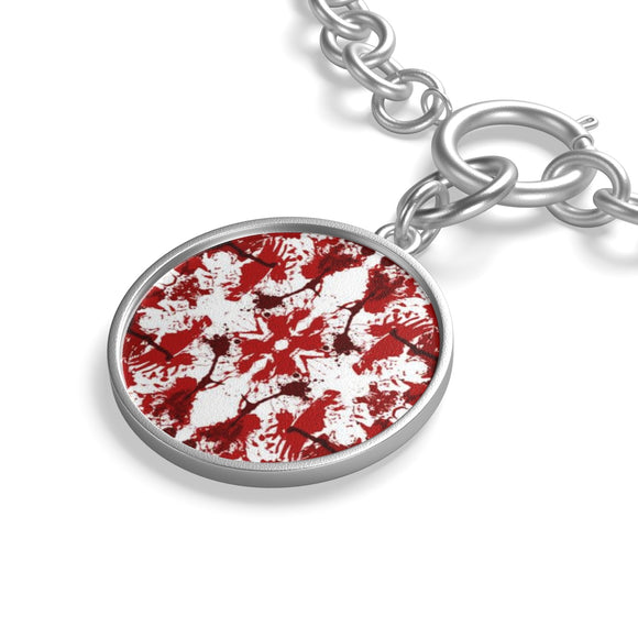 Silver Plated Chain Bracelet with Red Butterfly Kaleidoscope Coin Charm
