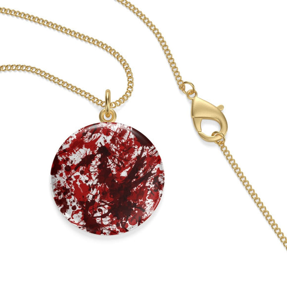 18K Gold Plated Blood Splatter Lotus Coin Pendant ¾