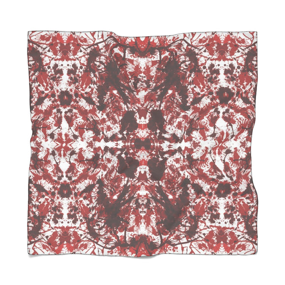 Red Kaleidoscope Chiffon/Voile Scarf 25