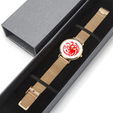 Game of Thrones TARGARYEN Crest Dragons Red, White & Gold Steel Strap Water-resistance Quartz Watch (with Blank Dial) :: Mental XS Online