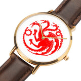 Game of Thrones TARGARYEN Crest Dragons Gold & Brown Leather Strap Water-resistance Quartz Watch (with Blank Dial) :: Mental XS Online