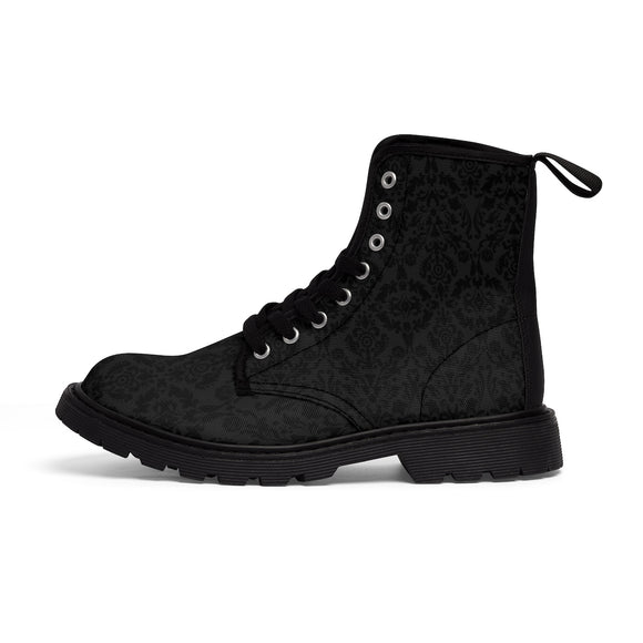 MENTAL XS Women's Black Damask Printed Lace Up Ankle Boots (Outer View) :: Mental XS Online