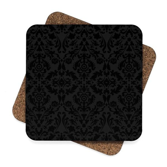 Black Damask Square Premium Hardboard Coasters 4-Pack :: Mental XS Online
