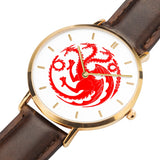Game of Thrones TARGARYEN Crest Dragons Gold & Brown Leather Strap Water-resistance Quartz Watch :: Mental XS Online