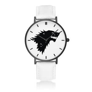 Game of Thrones STARK Crest Direwolf Black & White Leather Strap Water-resistance Quartz Watch :: Mental XS Online