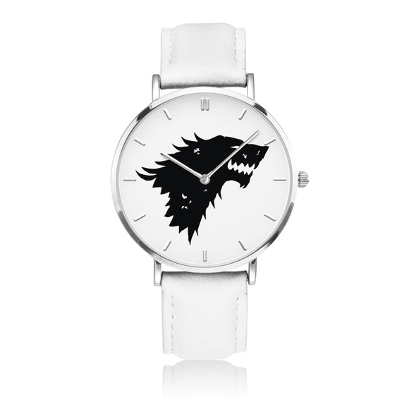 Game of Thrones STARK Crest Direwolf Silver & White Leather Strap Water-resistance Quartz Watch :: Mental XS Online