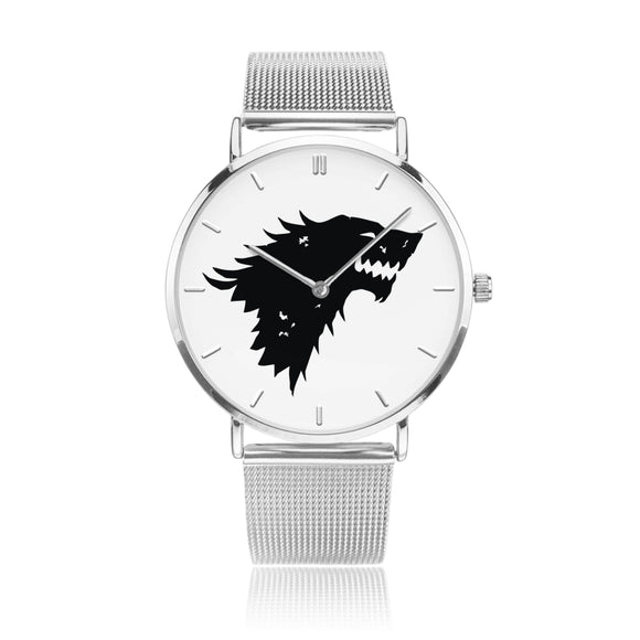 Game of Thrones Stark Crest Silver Steel Strap Watch