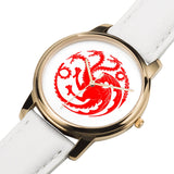 Game of Thrones TARGARYEN Crest Dragons Satin Finish Red, Rose Gold & White Leather Strap Water-resistance Quartz Watch (with Blank Dial) :: Mental XS Online