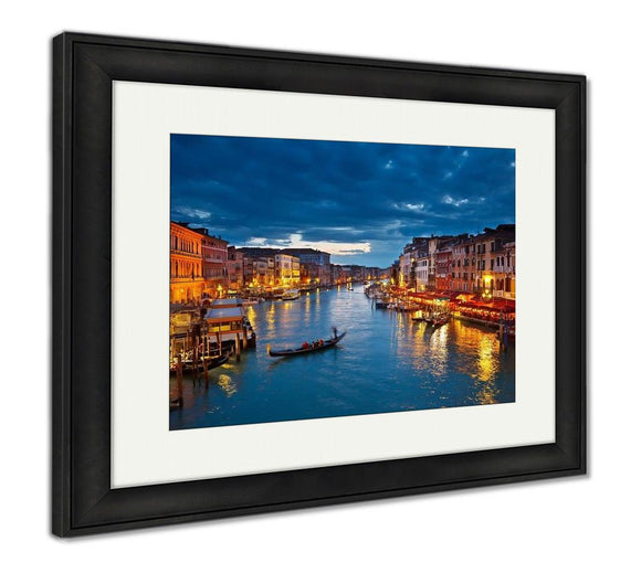 Framed Print, View On Grand Canal At Night Venice Italy