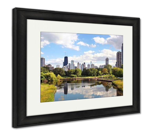 Framed Print, Skyline Of Chicago From Northside Looking South Towards City