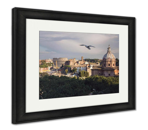 Framed Print, View Historical Center Rome Colosseum On Sunny Spring Day Flying