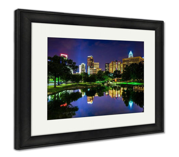 Framed Print, The Charlotte Skyline Seen At Marshall Park In Charlotte North