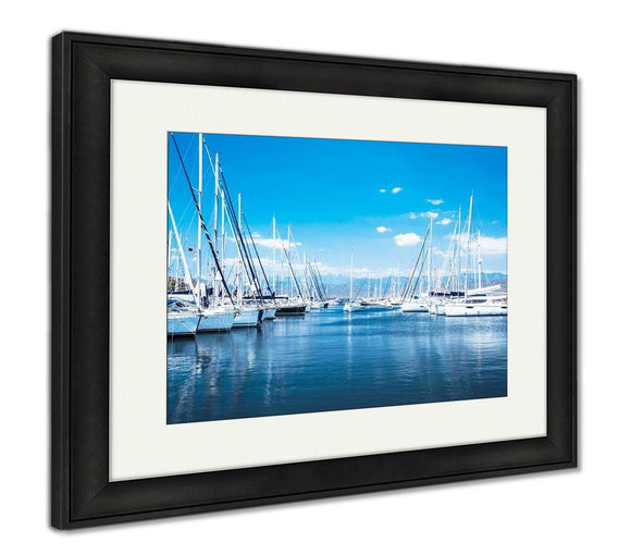 Framed Print, Sailboat Harbor Many Beautiful Moored Sail Yachts In The Sea Port Modern Water