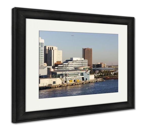 Framed Print, The View Of The Port And Norfolk Downtown In A Sunset Light West Virginia