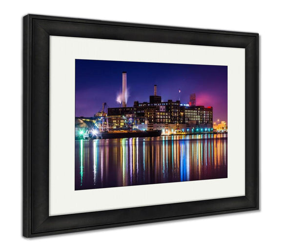 Framed Print, The Domino Sugars Factory At Night In Baltimore Maryland