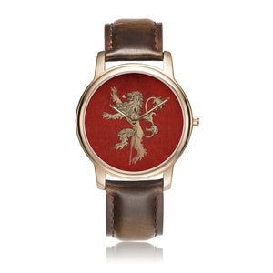 Game of Thrones LANNISTER Crest Lion Satin Finish Rose Gold & Brown Leather Strap Water-resistant Quartz Watch :: Mental XS Online