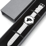 STARK Crest Direwolf Satin Finish Silver & White Leather Strap Water-resistance Quartz Watch :: Mental XS Online