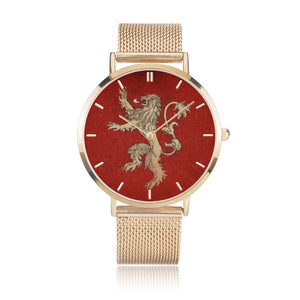Game of Thrones LANNISTER Crest Lion Red & Gold Steel Strap Water-resistance Quartz Watch :: Mental XS Online