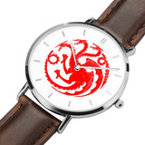 Game of Thrones TARGARYEN Crest Dragons Silver & Brown Leather Strap Water-resistance Quartz Watch :: Mental XS Online