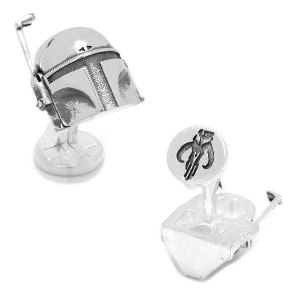 Star Wars Boba Fett Helmet 3D Silver Cufflinks - Official Cufflinks Inc :: Mental XS Online