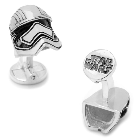 Star Wars Captain Phasma Helmet 3D Enamel Plated Silver Cufflinks - Official Cufflinks Inc :: Mental XS Online