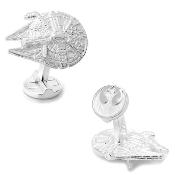 Star Wars Millennium Falcon 3D Sterling Silver Cufflinks - Official Cufflinks Inc :: Mental XS Online