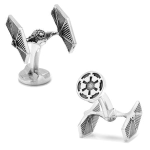 Star Wars TIE Fighter 3D Antique Finish Silver Cufflinks - Official Cufflinks Inc :: Mental XS Online