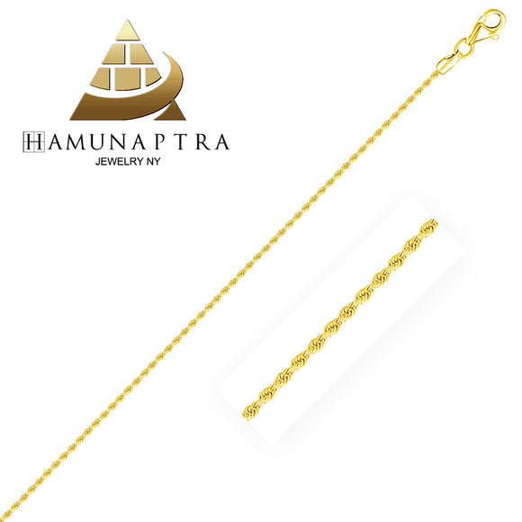 1.5mm 14K Gold Diamond Cut Rope Anklet - Fine Jewelry from Hamunaptra NY :: Exclusively at Mental XS Online