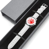 Game of Thrones TARGARYEN Crest Dragons Satin Finish Red, Silver & White Leather Strap Water-resistance Quartz Watch (with Blank Dial) :: Mental XS Online
