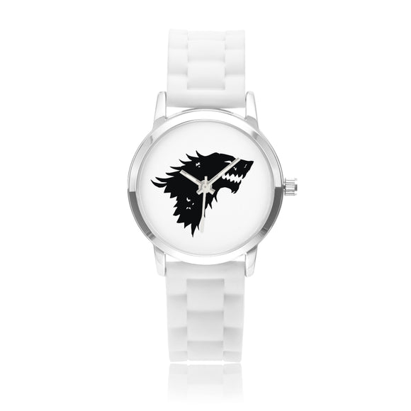STARK Crest Silver & White Silica Gel Strap Water-resistance Quartz Kids Watch :: Mental XS Online