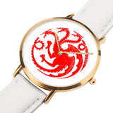 Game of Thrones TARGARYEN Crest Dragons Red, Gold & White Leather Strap Water-resistance Quartz Watch (with Blank Dial) :: Mental XS Online