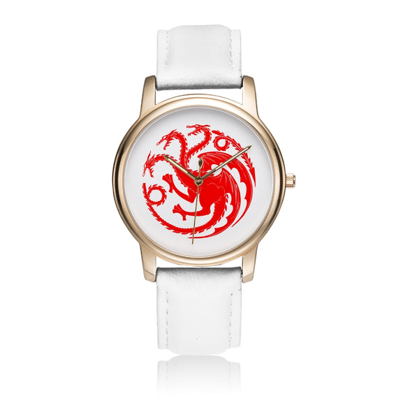 Game of Thrones TARGARYEN Crest Dragons Satin Finish Red & Satin Rose Gold Finish White Leather Strap Water-resistance Quartz Watch (with Blank Dial) :: Mental XS Online