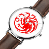 Game of Thrones TARGARYEN Crest Dragons Silver & Brown Leather Strap Water-resistance Quartz Watch (with Blank Dial) :: Mental XS Online