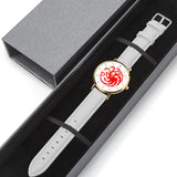 Game of Thrones TARGARYEN Crest Dragons Red, Gold & White Leather Strap Water-resistance Quartz Watch :: Mental XS Online