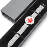 Game of Thrones TARGARYEN Crest Dragons Red, Silver & White Leather Strap Water-resistance Quartz Watch :: Mental XS Online