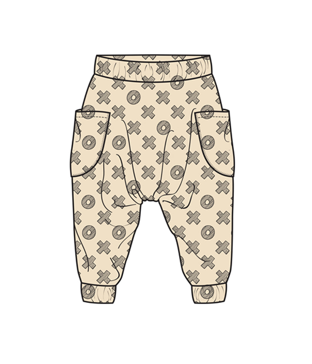 Tic Tac Toe organic cotton harem pants