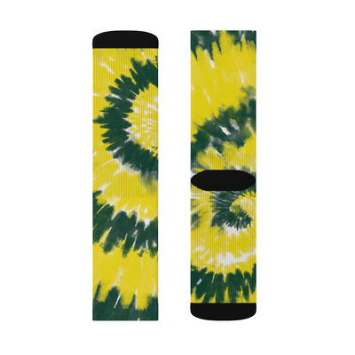 Green & Yellow Tie Dye Adult Crew Socks-M - Famous IRL