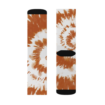 Burnt Orange & White Tie Dye Adult Crew Socks-M - Famous IRL
