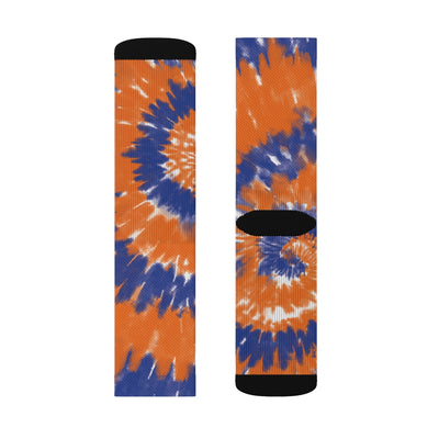 Blue & Orange Tie Dye Adult Crew Socks-M - Famous IRL
