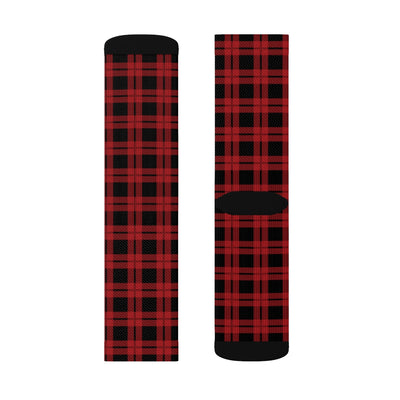 Red & Black Lumberjack Adult Crew Socks-M - Famous IRL