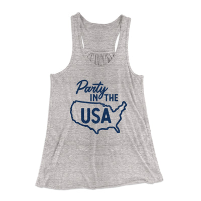 Party in the USA Women's Flowey Racerback Tank Top-Athletic Heather - Famous IRL