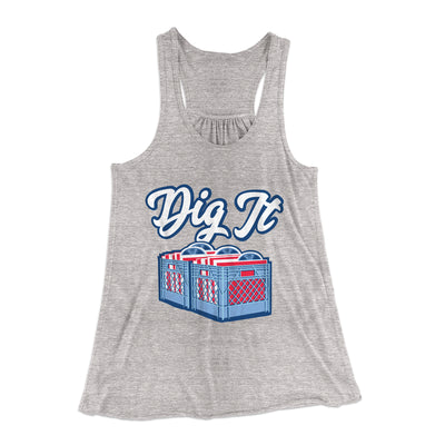 Dig It - Record Crate Women's Flowey Racerback Tank Top-Athletic Heather - Famous IRL