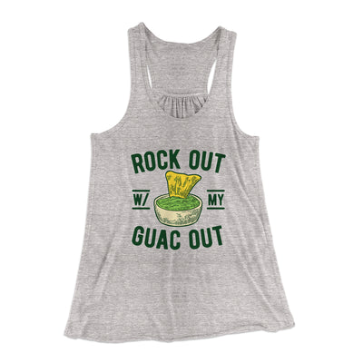 Rock Out With My Guac Out Women's Flowey Racerback Tank Top-Athletic Heather - Famous IRL