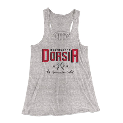 Restaurant Dorsia Women's Flowey Racerback Tank Top-Athletic Heather - Famous IRL