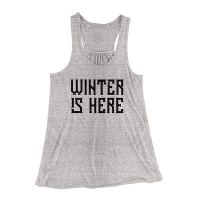 Winter is Here Women's Flowey Racerback Tank Top-Tank Top-Printify-Athletic Heather-XS-Famous IRL